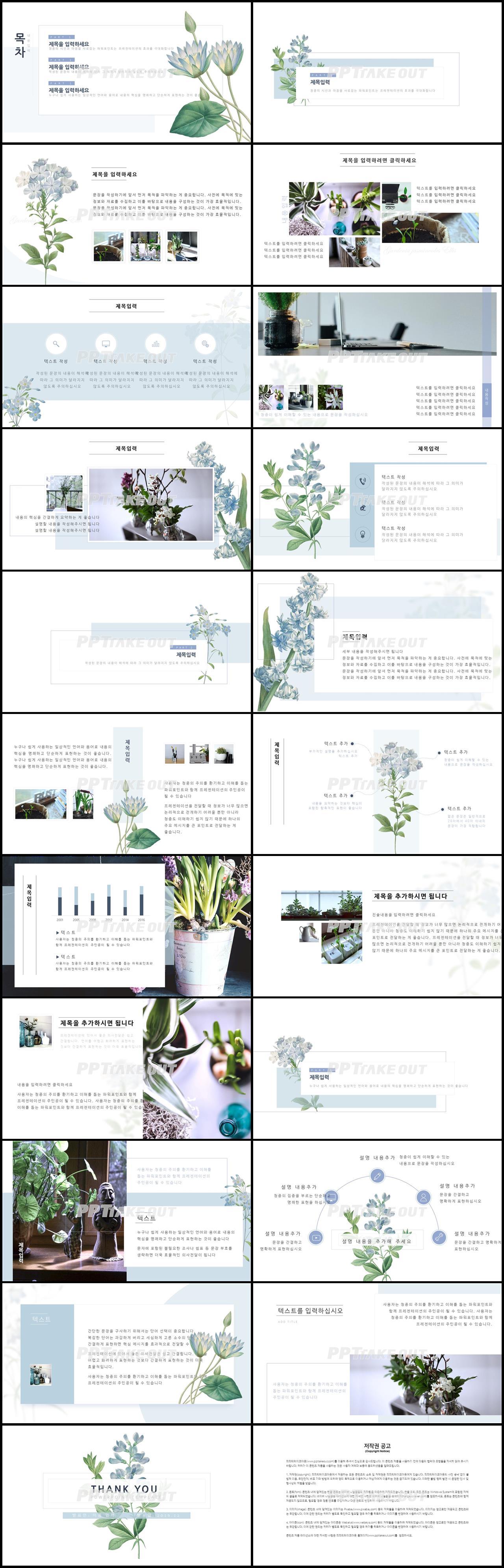 꽃과 동식물 주제 그린색 단정한 맞춤형 PPT테마 다운로드 상세보기