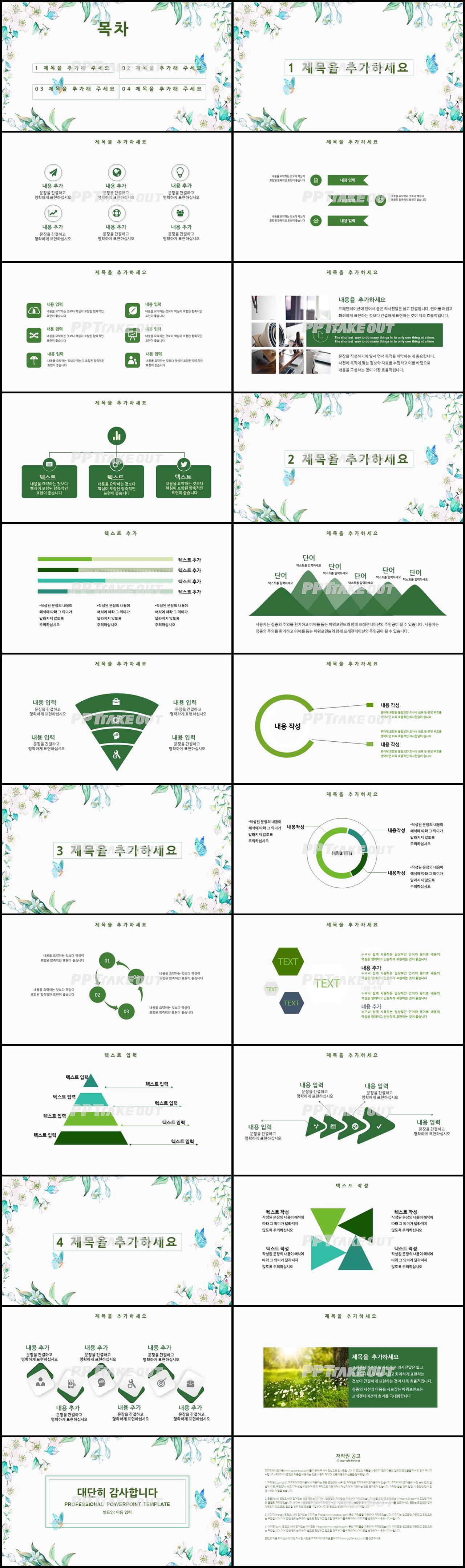 화초, 동식물 그린색 단정한 다양한 주제에 어울리는 피피티샘플 디자인 상세보기