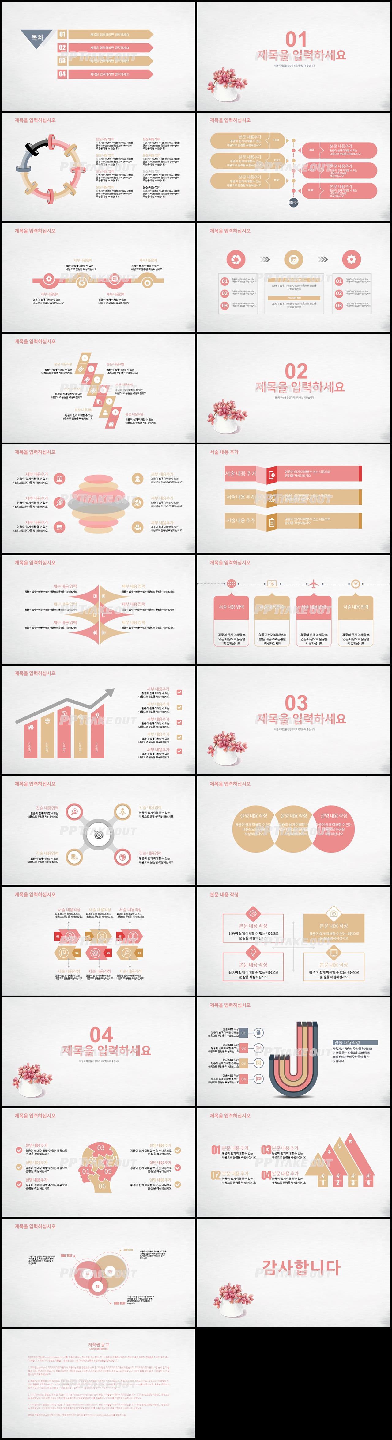 화초, 동식물 핑크색 귀여운 매력적인 POWERPOINT탬플릿 제작 상세보기