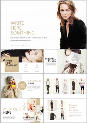 패션, 미용주제 갈색 패션느낌 고급스럽운 PPT테마 사이트